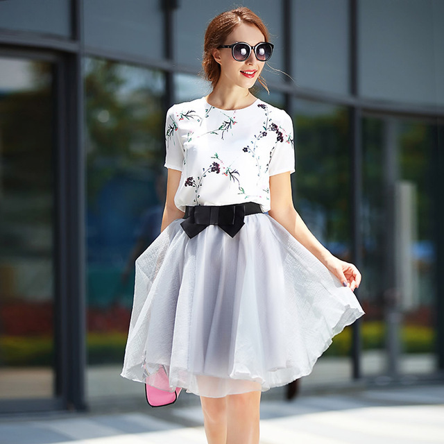 b00bae6034 Female Summer Cloth White Flower Printing Blouse +Bow Ball Skirt Gown Crop  Top and Skirt