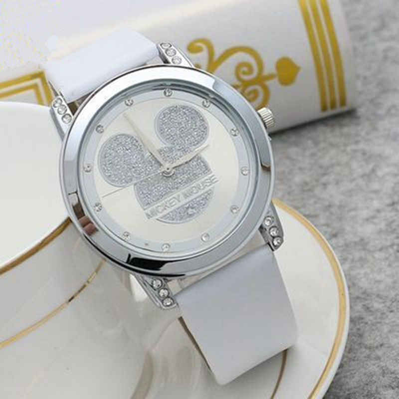 Mickey Mouse Girls Quartz Watch Cartoon Children Watches Crystal Diamond For Ladies Student  Women Anime Clock Dropshipping