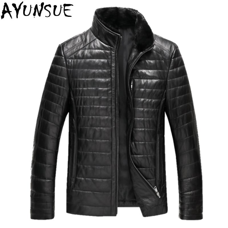 AYUNSUE حقيقية سترة جلدية الرجال الشتاء بطة أسفل معطف أسود معاطف زائد حجم 6XL جاكتات شتوية رجالية LX2162-في معاطف جلد طبيعي من ملابس الرجال على  مجموعة 1