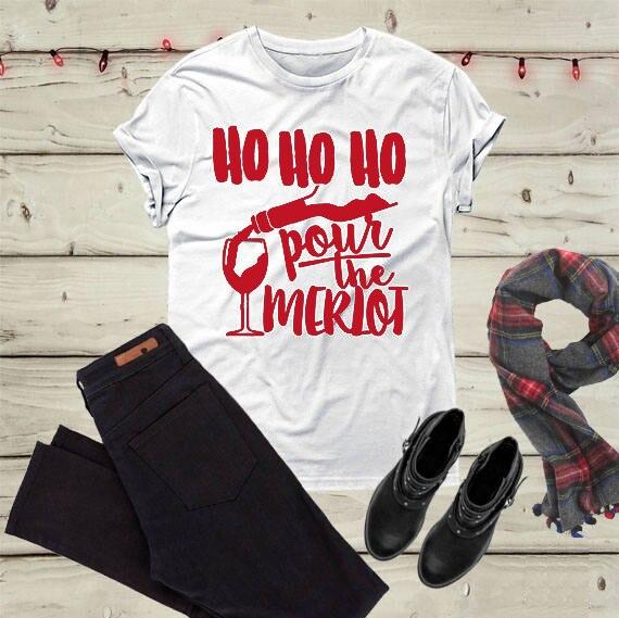 Christmas party Merlot shirt drinking funny slogan graphic aesthetic ... ef6917e9e976