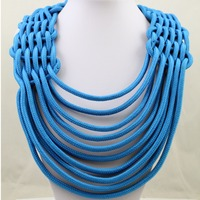 Accessories Neon Color Rope Cotton Necklace Knitted Necklaces
