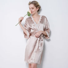 Women's 100% Pure Mulberry Silk Robe Luxury Pajama robes Sexy Nightwear Silk Nighties sexy lingerie nightgown female sleepwear