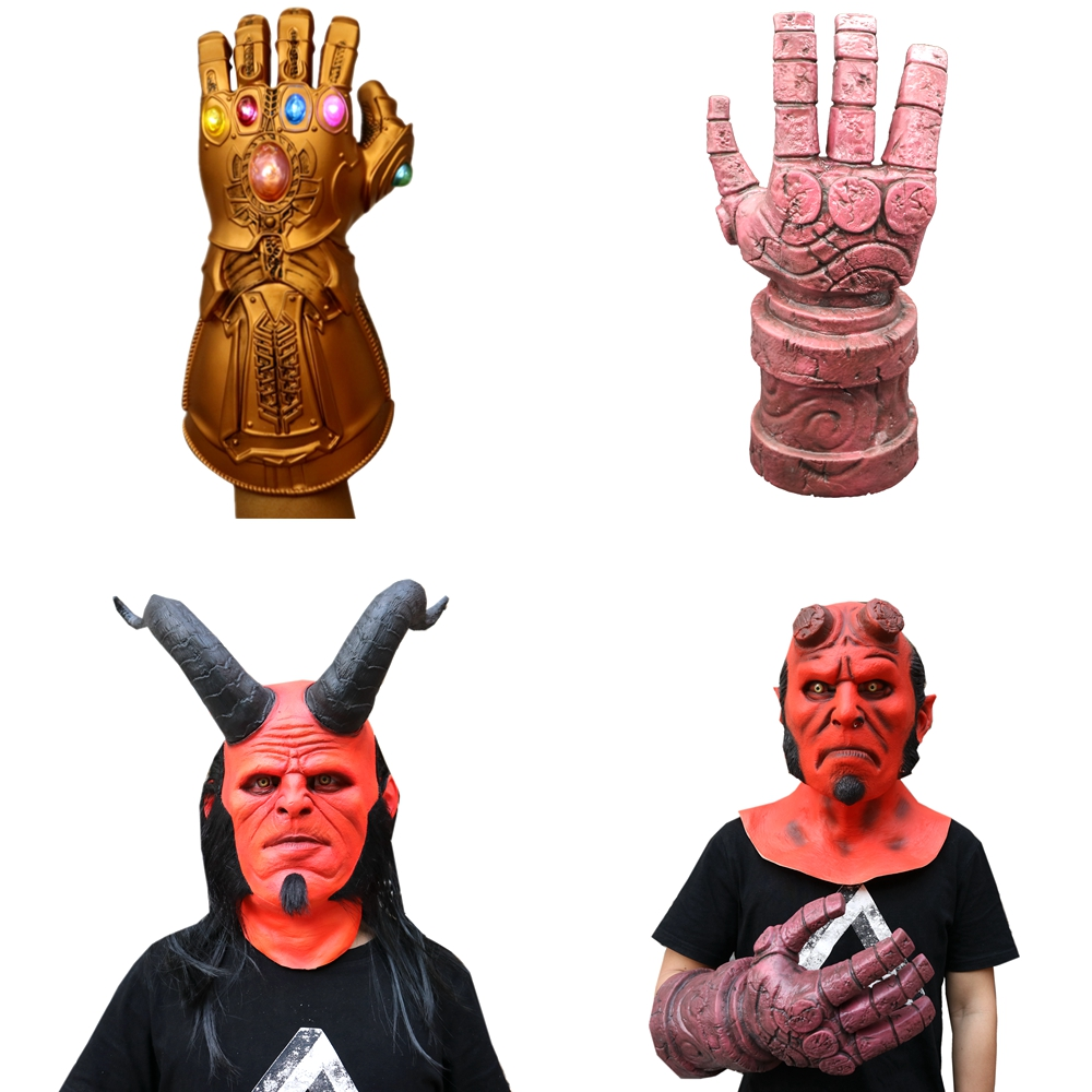 Movie Hellboy Helmet Cosplay Adult Hellboy Red Arm Hands Glove With LED Light Holloween Party Latex Face Mask Costume Props