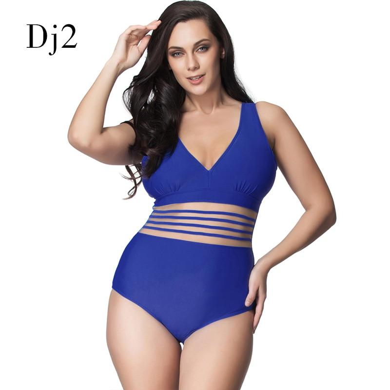 Sexy One Piece Swimsuit Women Plus Size Deep V Swimwear Transparent Lace Bandage Plus Size Bathing Suit Women One Piece Monokini