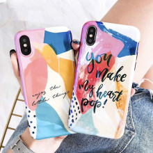 Color Art Graffiti Soft Shell Phone Case For iPhone7 8 6 6S Blu-ray Cartoon Phone Case For iPhoneX XR XS  Deluxe Drop Phone Case