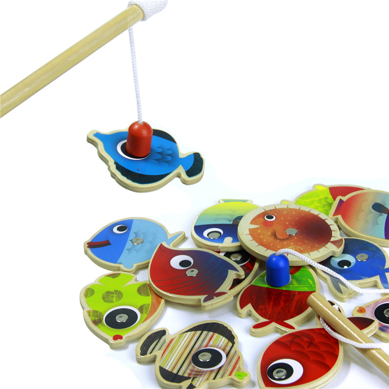 Wooden children fishing toys 14 fishes 2 magnetic for Baby fishing pole