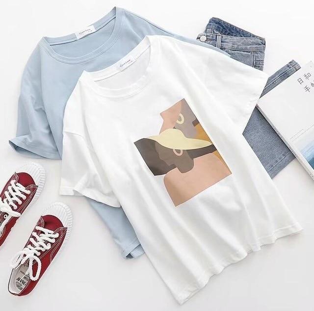 Abstract Printing White T-Shirts Tees Women Short Sleeve O Neck Tops 2019 Summer Student T-Shirts Harajuku 5