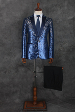 100%real mens black/blue/ golden sequined embroidery luxury tuxedo suit /event/evening/stage/stuido