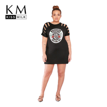 Kissmilk Women Plus Size Floral Print Mini Punk T-shirt Dress Cut Out Short Sleeve Club Party Dress Large Size Dress 3XL 7XL