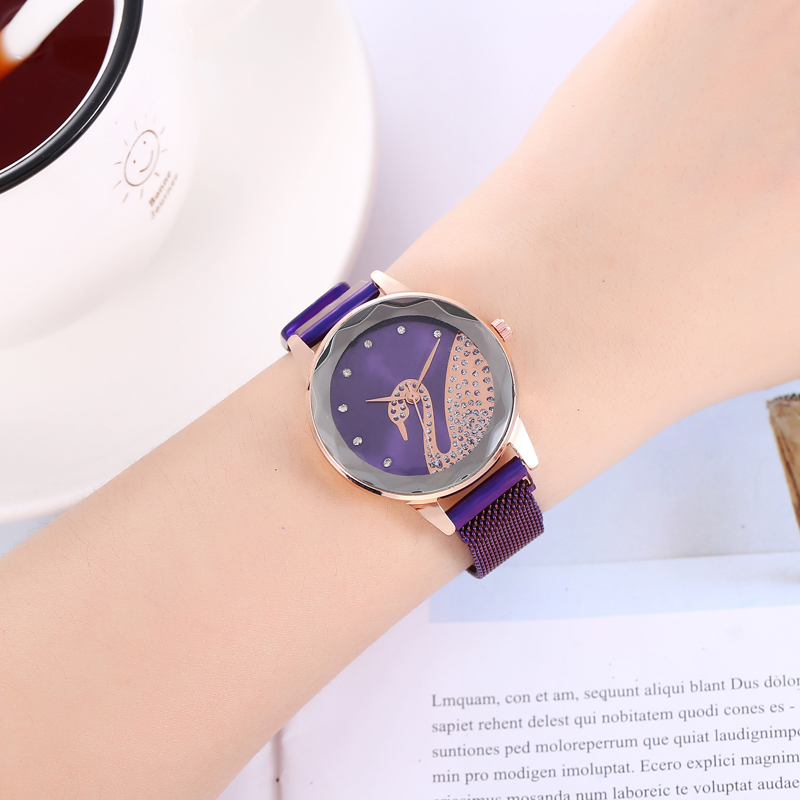 Geometric Surface Female Luminous swan Diamond Watch Clock Women 39 s Fashion Luxury Stainless Steel Mesh Magnetic Buckle Watches in Women 39 s Watches from Watches