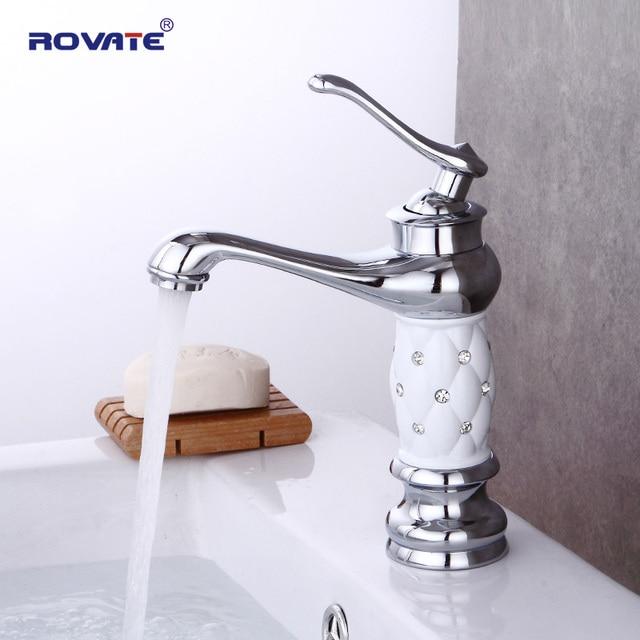 ROVATE Bathroom Faucet Brass/Chrome Diamond Basin mixer Single Handle Single Hole Cold&Hot Water Tap torneira