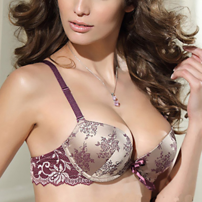 ba74709736 Women Chinese Style Big Size Lace Underwear Bow Bra BrBra Set Sexy Silk and  Satin Push Up