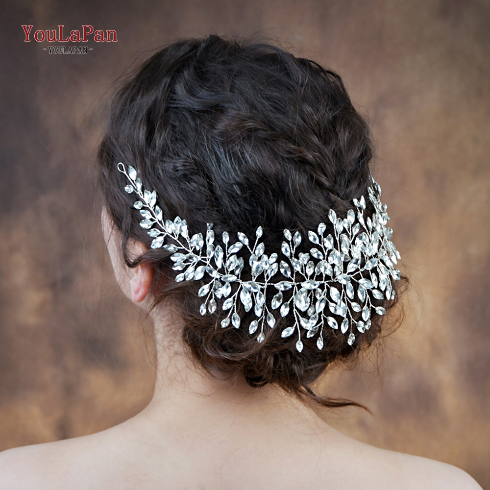 YouLaPan HP237 Full Rhinestones Bridal Hair Vine Bridal Headband Prom Hair Piece Bridal Hair Vine Tiara Sliver Diamond Headpiece