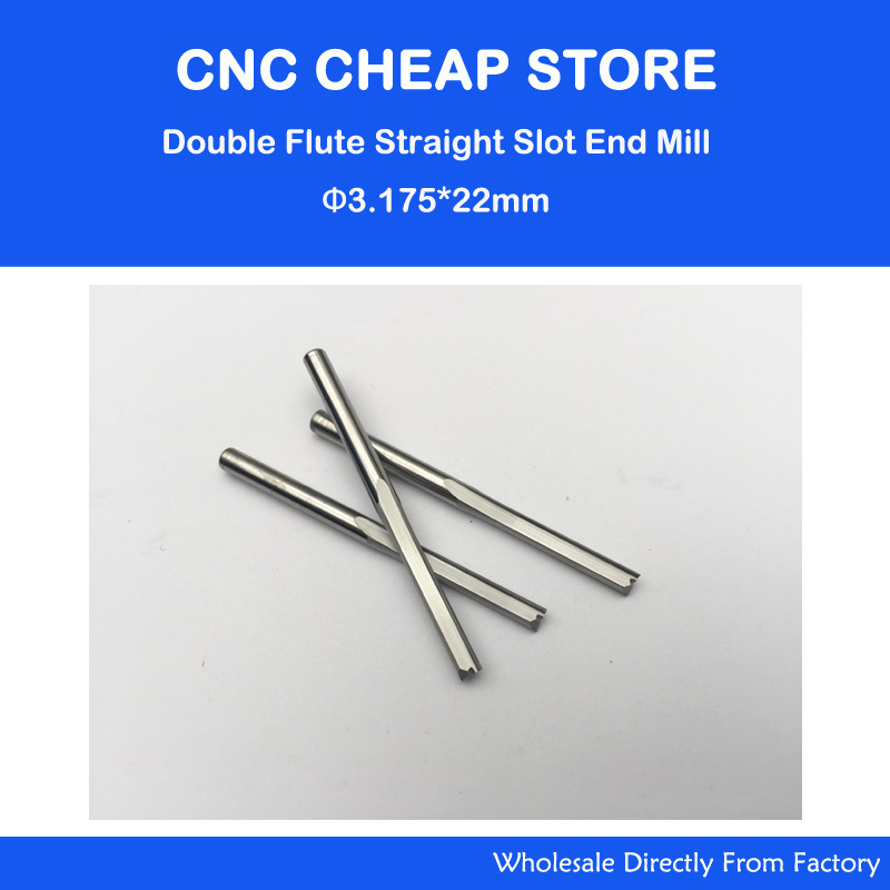 3.175mm*22 mm two straight flute milling cutter router bit end mill for CNC Machine Engraving 3 175 12 0 5 40l one flute spiral taper cutter cnc engraving tools one flute spiral bit taper bits