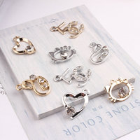 Free Shipping 100Pcs Zinc Alloy Charms Rhinestone Crystal Paved Animal Swan Cat Love Heart Number 5 Floating Pendant Charm Craft