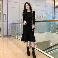 dong render dress tail knitting dress show thin women accept waist long sleeved round collar French girls break