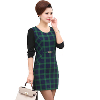 WAEOLSA Mature Woman Plaid Dresses Business Casual Office Outfits Middle Aged Womens Elegant One Piece Red