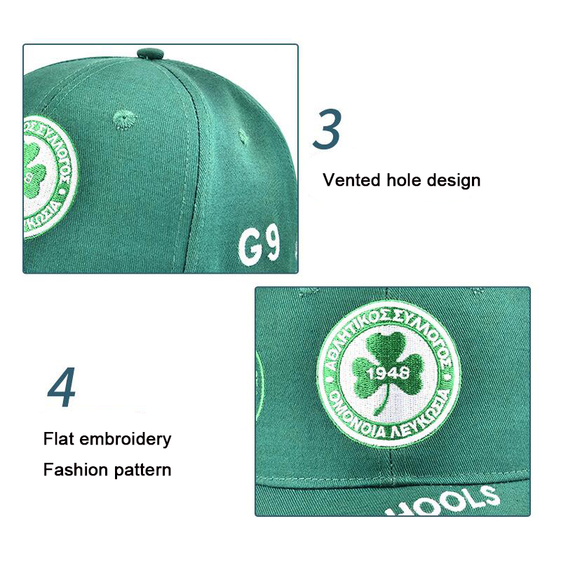 Summer 1948 Clover Embroidery Baseball Cap Cotton Printing Outdoor Leisure Sunshade Sunscreen Sports Sun Hat