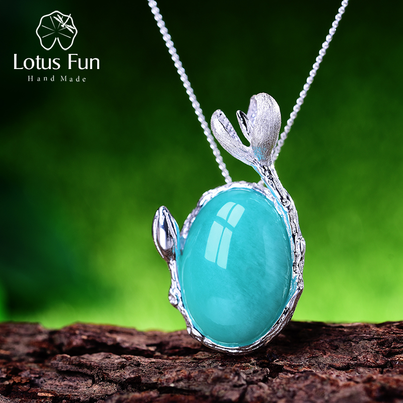 Lotus Fun Real 925 Sterling Silver Natural Amazonite Handmade Fine Jewelry Magnolia Flower Pendant without Necklace for WomenLotus Fun Real 925 Sterling Silver Natural Amazonite Handmade Fine Jewelry Magnolia Flower Pendant without Necklace for Women
