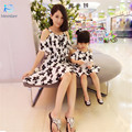 mother daughter dresses Mother of women 2016 summer Chiffon Dress  Beach dress flouncing Girls strapless floral dress 20#