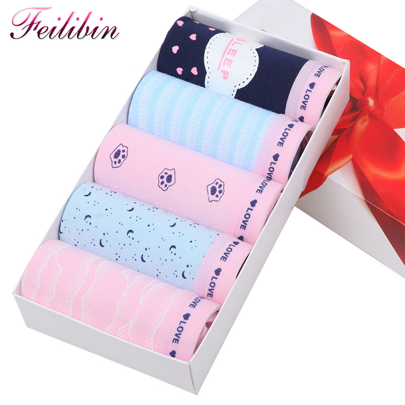 Feilibin 5Pcs/lot Underwear Women   Panties   Comfort Cotton Seamless Womens Cute Print Briefs Soft Breathable Sexy Women Lingerie