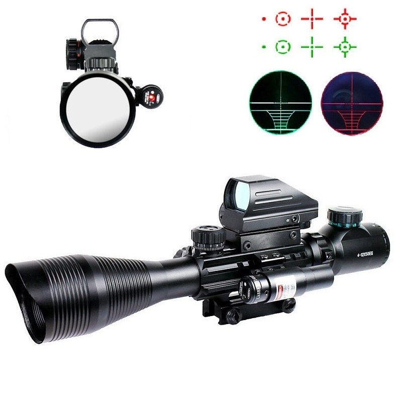 4-12X50EG Tactical Rifle Scope with Holographic 4 Reticle Sight & Red Laser Combo Airsoft Gun Weapon Sight Hunting Chasse Caza 3 10x42 red laser m9b tactical rifle scope red green mil dot reticle with side mounted red laser guaranteed 100%