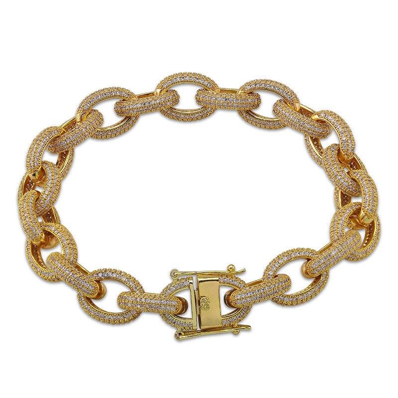 Hip Hop hommes Bracelets Bling glacé AAA cubique Zircon Miami gourmette cubain lien chaîne Bracelet bijoux personnalité cadeaux