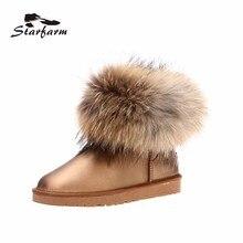 2017 starfarm женщина Мех ботинки зимние женские ботинки для женская обувь натуральная кожа Зимние теплые плюшевые угги Ботильоны SF1703