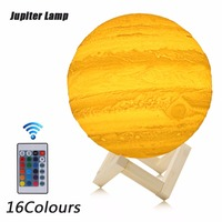 New Arrival 3D Printing Jupiter Lamp Remote Touch Pat Switch Night Light For Home Decoration Creative