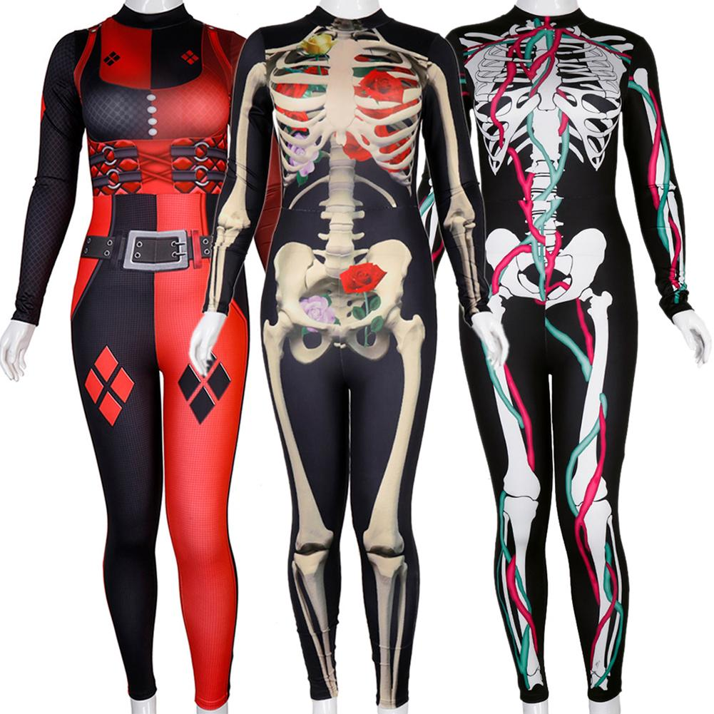 Sexy Women's Halloween Clown Costume Bodycon Jumpsuit Role-playing Tight-fitting Jumpsuit Multi Color Style Stage Show Size ML