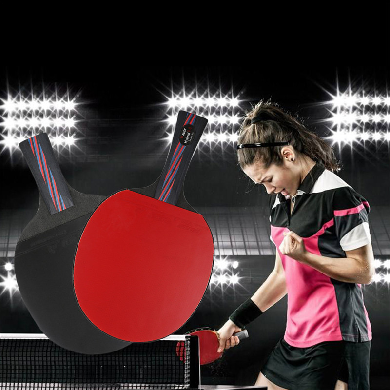 BOER Table Tennis Lightweight Ping Pong Racket Paddle Long/Short Handle  Double Face Table Tennis