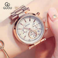 GUOU Luxury Watch Women Steel Bracelet Auto Date Women's Watches Multi-runtioan Ladies Clock saat relogio feminino reloj mujer