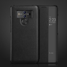 Genuine Leather Phone Case For HuaWei P20pro Mate10  Intelligent Display Windows Original Flip Luxury Cover Mate10pro