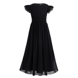 Image 2 - Kids Girls Flutter Sleeves Pleated High waisted With Sash Ties Floor Length Chiffon Dress Flower Girls Dresses for Wedding Party