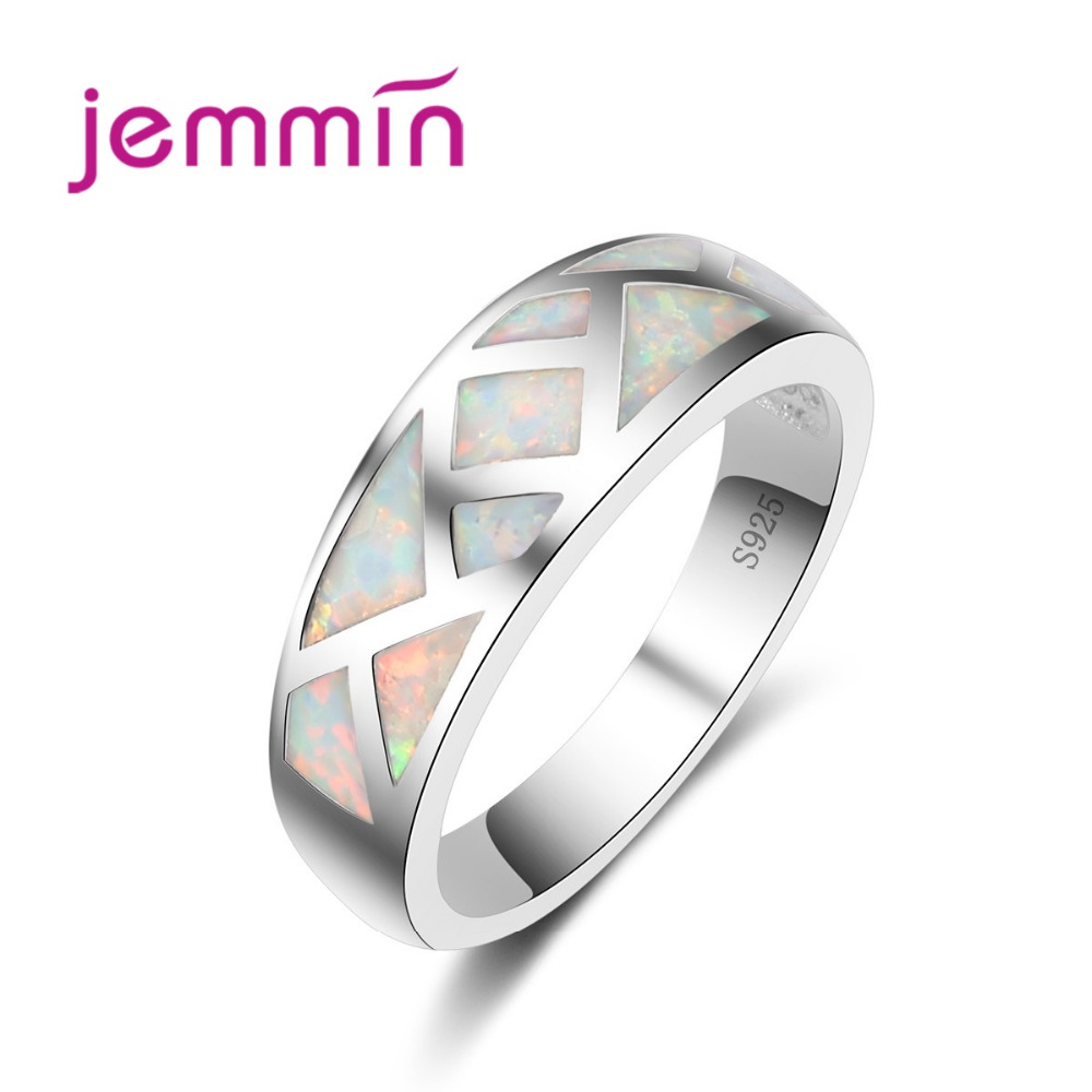 Jemmin White Fire Opal Rings for Women Wedding Fashion Jewelry 925 Sterling Silver Ring Wedding JewelryJemmin White Fire Opal Rings for Women Wedding Fashion Jewelry 925 Sterling Silver Ring Wedding Jewelry