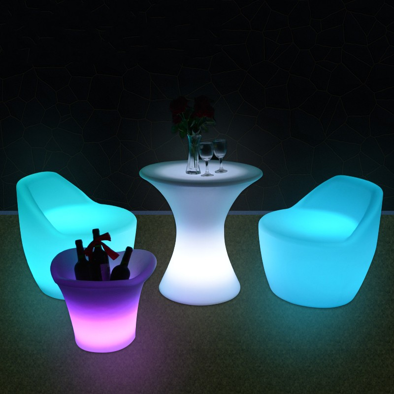 New Led Furniture RGB Rechargeable Led Illuminated Gaming Chair Waterproof Led Bar Chair Seat Outdoor Use For Bar KTV Disco