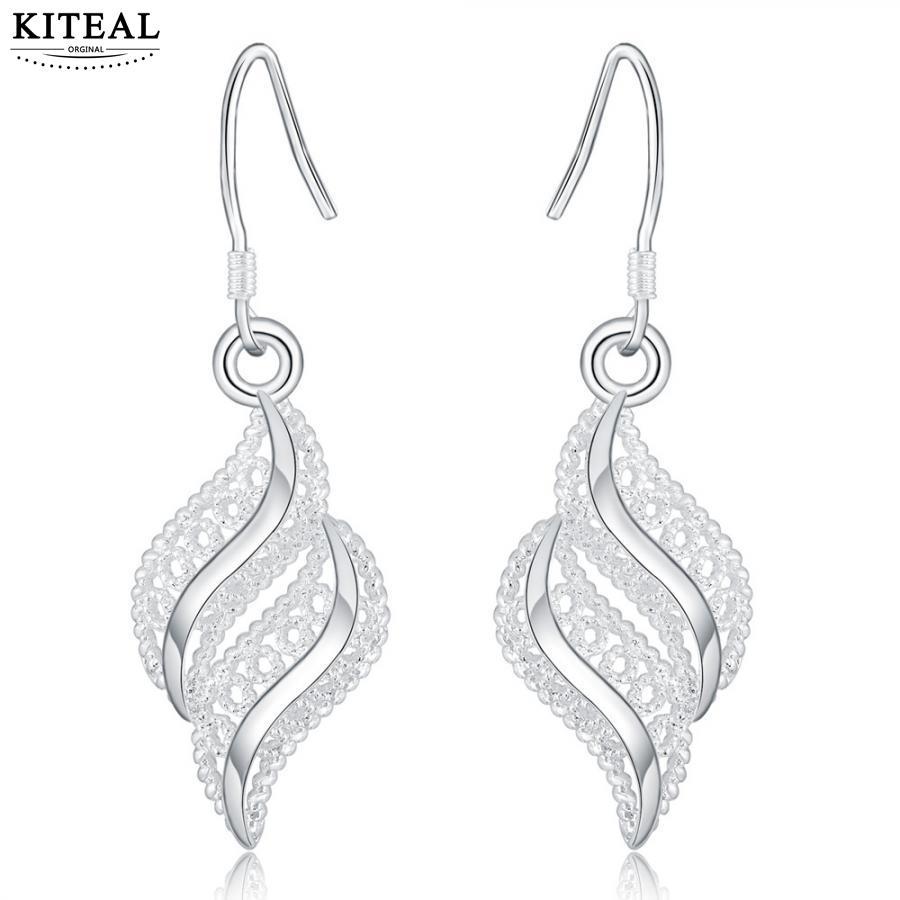 Vintage Love silver plated earrings for women Leaves Leaf feather drop earrings for women oorbellen jewelry