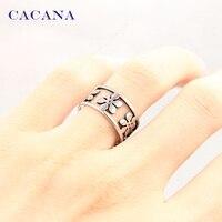 Cacana Титан Нержавеющая сталь кольца для Для женщин пять лепестков Модные украшения Оптовая NO. R166