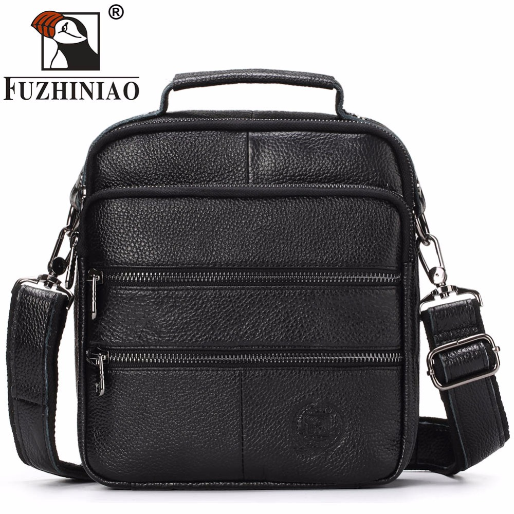 FUZHINIAO Genuine Leather Men's Bags Crossbody Bags Satchels Male Messenger Bag Men Small Ipad Holder Shoulder Bag High Quality hot 2017 genuine leather bags men high quality messenger bags small travel black crossbody shoulder bag for men li 1611