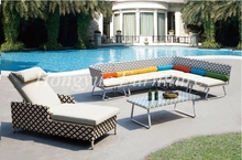 Latest designs sythetic rattan corner sofa with rattan lounge chair furniture