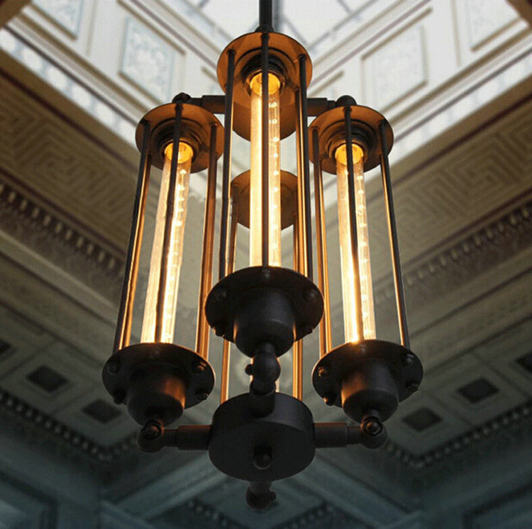 New Arrive Nordic Industrial Wind Restoring Ancient Style Buffet Restaurant Flute Droplight Metal Four Deluxe Pendant Light
