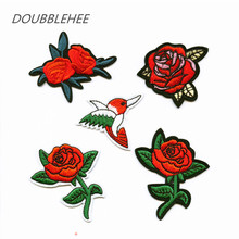 DOUBLEHEE Embroidered Iron On Patches Rose Flowers With Leaf For DIY Cloth Patch Pop Fashion Design Motif Applique Badge
