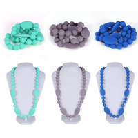 3Colors Silicone Baby Teether Safe Baby Nursing Mom Breastfeeding Teething Teether Necklace Chewable Jewelry