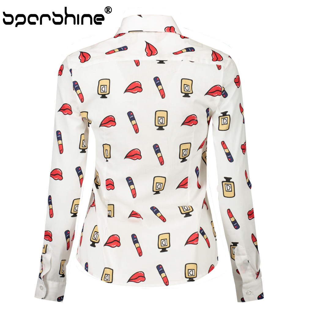 SPARSHINE Blouses 2017 Autumn Long Sleeve Women Blouse Shirt White Shirts Top Lipstick Lips Print Plus Size 5XL Blusas Femininas