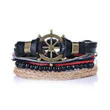 Good Price! 4 Multilayers Punk Wrap Leather Bracelets Men For Women Charm Anchor Bracelets Cuff Jewelry Accessories 4 pcs 1 set