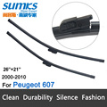 "Wiper blades for Peugeot 607 (2000-2010) 26""+21"" fit slide latch wiper arms only"