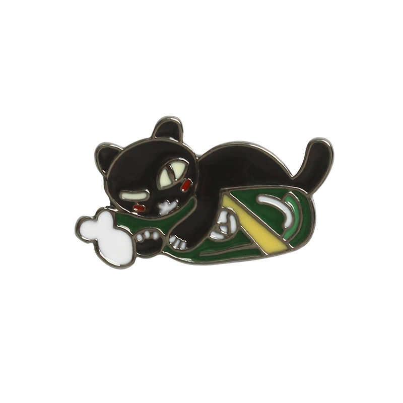 การ์ตูนน่ารักสีดำแมวถือขวดไวน์เข็มกลัดสำหรับผู้หญิงน่ารักสัตว์ Enamel Pin อุปกรณ์เสริมเครื่องประดับของขวัญ