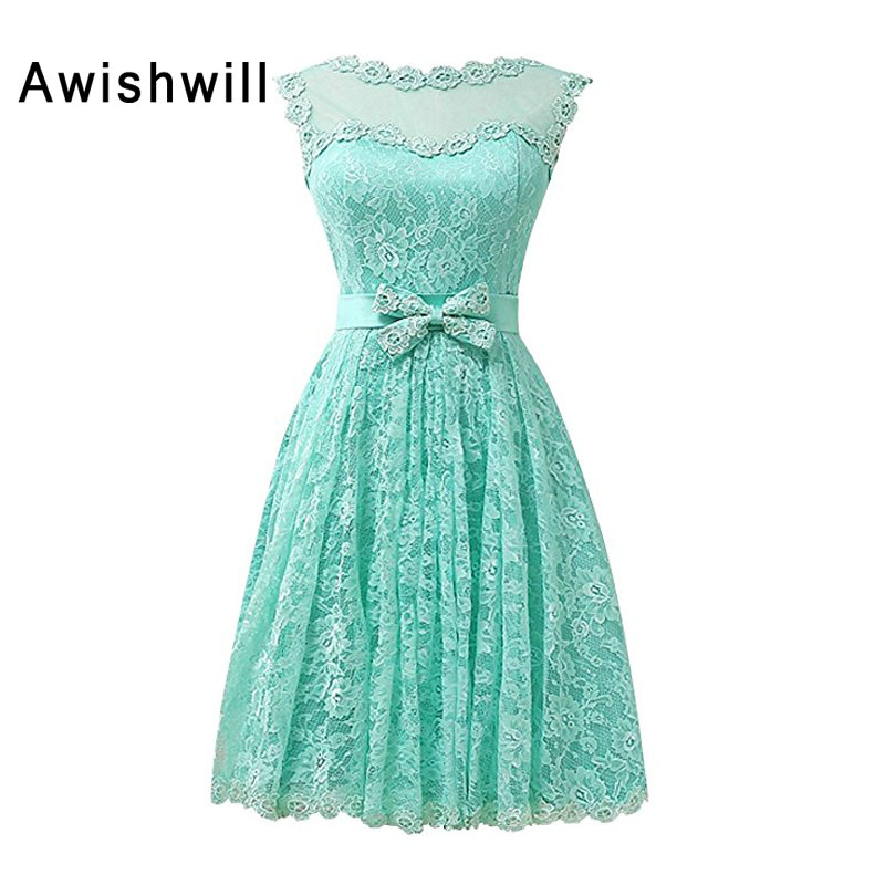 Customized Cheap Short Party Dress Sleevelsss With Bow Lace Evening ...