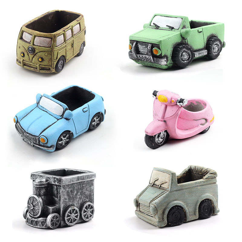 Cute Cars Silicone Mold Concrete Flowerpot Mould Handmade Cement Home Decoration Tool