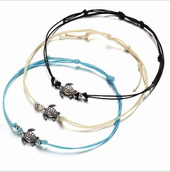 1pc Summer Beach Turtle  Charm Rope String Anklets For Women Sandals On the Leg Chain Foot Jewelry 8479-8481